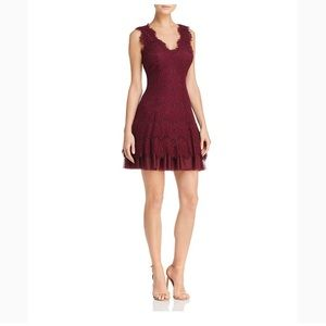 Betsy & Adam maroon lace dress with tulle underlay